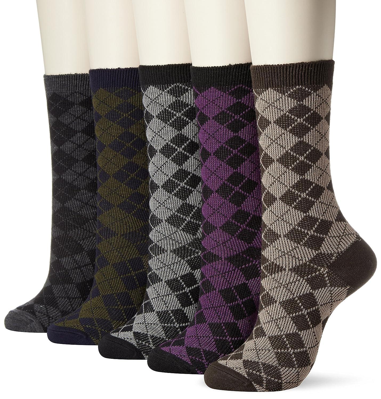 (イヤシ) 癒足 婦人 ソックス 靴下ウールシャガードクルー 同柄5足セット ダイヤ柄他、7柄よりお選びください