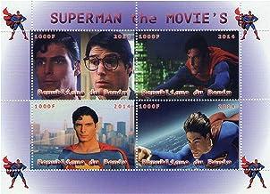 Escenas Marvel Superhero Superman de películas viejas y nuevas sello hoja - 4 sellos 2014 / República Benin / MNH