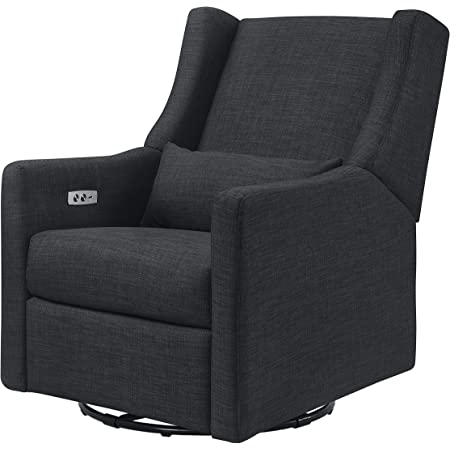 """Babyletto Kiwi Electronic Power Recliner and Swivel Glider with USB Port in Coal Grey , Greenguard Gold Certified"""