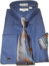 Karl Knox SX4412 Mens Navy Blue Woven Look Round Eyelet Collar French Cuff Dress Shirt + Tie Set