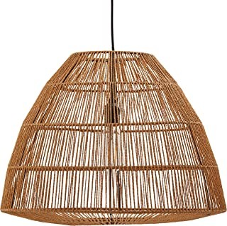 Stone & Beam Rustic Global Round Woven Lamp Shade Hanging Ceiling Pendant Fixture with Light Bulb, 14.75