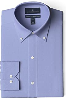 "Buttoned Down Men's Tailored Fit Button-Collar Solid Non-Iron Dress Shirt (No Pocket), Blue, 15.5"" Neck 32"" Sleeve"