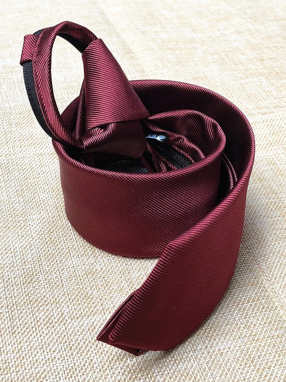 Mens Boys Skinny Zipper Clip on Tie Wedding Solid Color Easier Designer Neckties