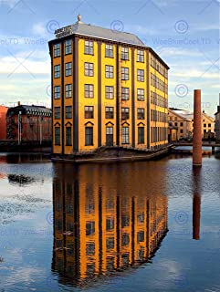 12 X 16 INCH / 30 X 40 CMS FLATIRON NORRKOPING SWEDEN REFLECTION PHOTO FINE ART PRINT POSTER HOME DECOR PICTURE BMP643B
