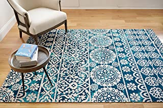 Well Woven Signora Blue Vintage Floral Tile Design Short Pile Kilim-Style Modern 3x5 (3'3