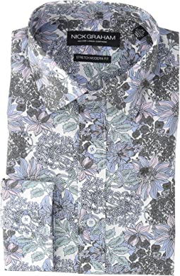 Large Floral Print Stretch Shirt