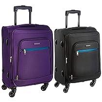 Aristocrat Nile Polyester 54 cms Purple Soft Sided Carry-On + Nile Polyester 54 cms Black Soft Sided Carry-On (STNILW54PPL + STNILW54BLK)