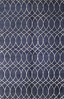 Bashian Collection Hand Tufted Wool & Viscose Area Rug, 3.9' x 5.9', Navy