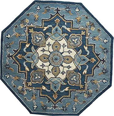Lr Home Alfombra Tradicional de medallón Oriental Azul