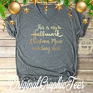 This is my Hallmark Christmas Movie watching shirt, Perfect gift, Gold on Grey Premium Soft TriBlend Tee Shirt- Boyfriend Fit- Unisex Vnec