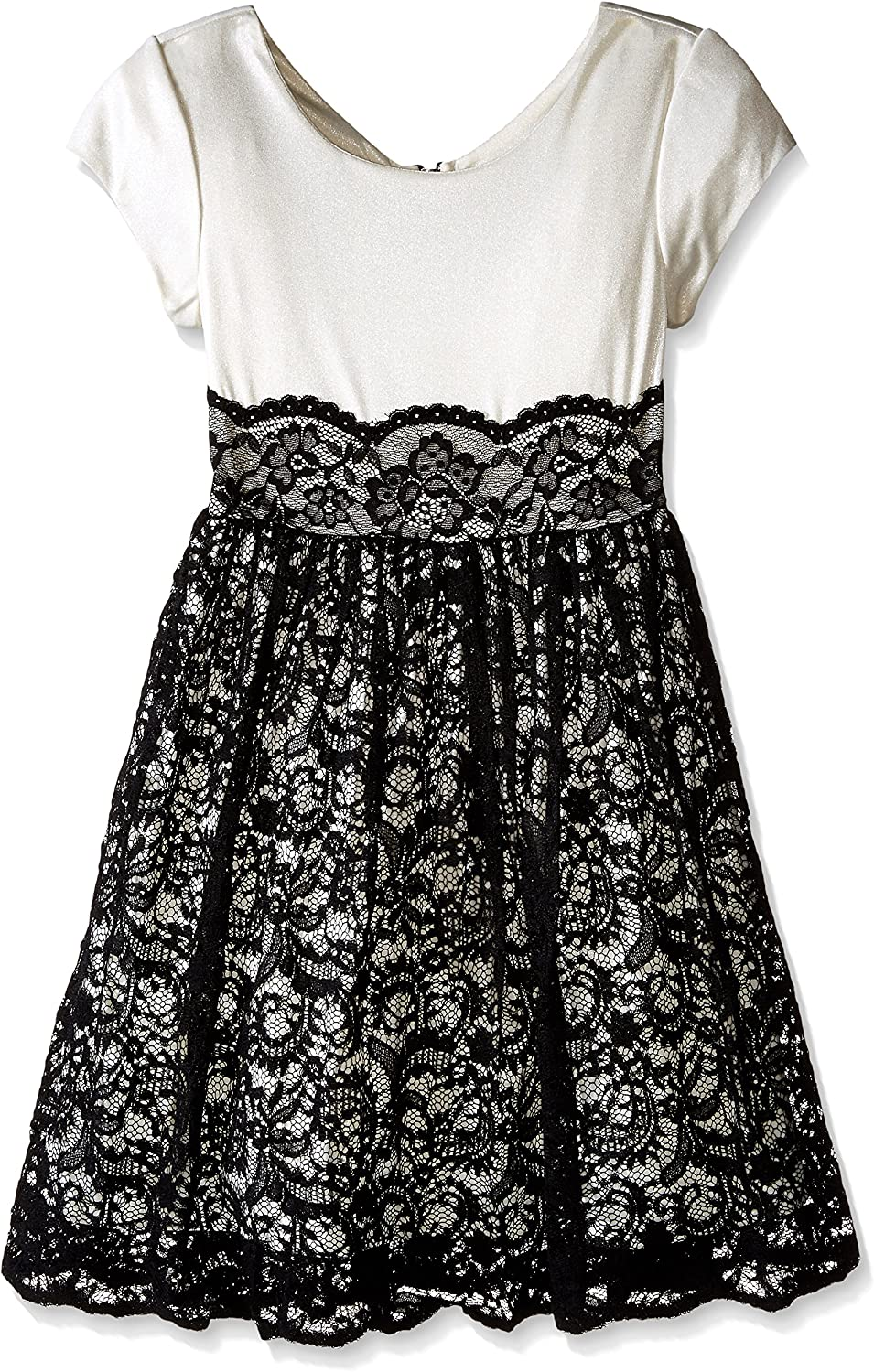 Bonnie Jean Girls' Big Cap Sleeve Dress with Lace Overlay Skirt