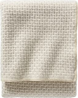 Pendleton Lattice Weave Wool Ivory/Cream Bed Blanket, Queen