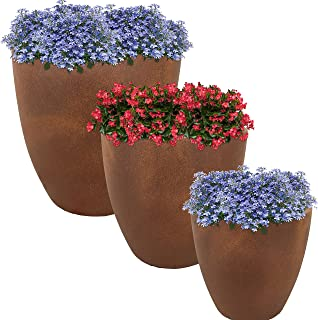 Sunnydaze Rustic Villa Fiber Clay Planter Flower Pot, Durable Indoor/Outdoor 12-Inch, 15-Inch and 17-Inch 3-Piece Set