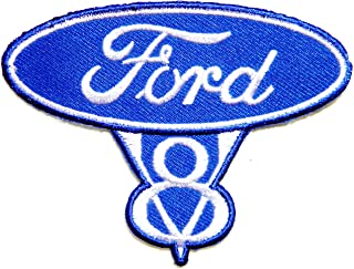 FORD V8 Vintage RACING Logo Sign Car Patch Sew Iron on Applique Embroidered T shirt Jacket Costume BY SURAPAN