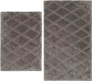 Vera Wang Tufted Diamond Bath Rug Set, 2 Piece, Grey