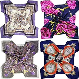 """LilMents 4 Mixed Designs Large 35"""" × 35"""" Square Polyester Satin Neck Head Scarf Scarves Set"""
