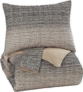 Ashley Furniture Signature Design - Arturo King Duvet Cover Set - Includes Duvet & 2 Pillow Shams - Cotton - Natural/Charcoal