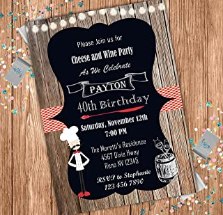 Cheese and Wine Custom Adult Birthday Invitation - Food and Wine Festival - Wedding Shower Invite - Personalized