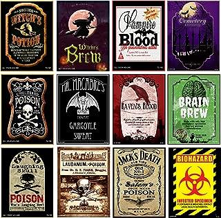 American Art Classics Set of 12 Halloween Wine Bottle Labels - 5 Inch X 4 Inch