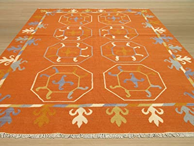 EORC OSK1RT Hand Knotted Wool Reversible Suzani Kilim Rug, 8' by 10', Rust