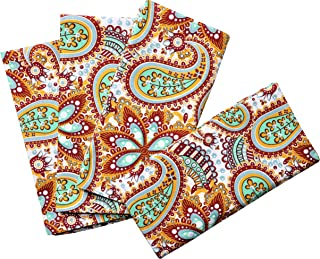 Crabtree Collection Deluxe Cotton Table Napkins, Bright Colors for Kitchens and Dining Rooms - (Red Paisley Napkin Set)