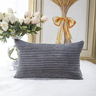 Home Brilliant Decorative Plush Striped Velvet Corduroy Oblong Pillowcase Accent Cushion Cover, 12 x 20 inch (30x50 cm), Dark Grey