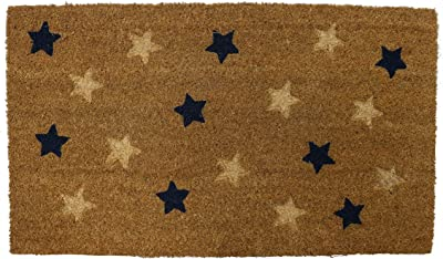 PRIDE OF PLACE Astley Rectangle Doormat   Stars Design   Non-Slip PVC Backing   Heavy Duty Coir   Ideal for Indoor or Sheltered Outdoor Use   Waterproof   40 x 70cm - Natural