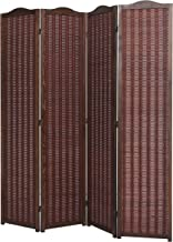 MyGift Deluxe Brown Natural Woven Design Bamboo 4 Panel Folding Room Divider/Portable Privacy Screen