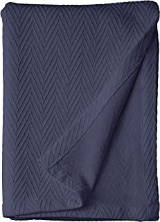 Superior 100% Cotton Thermal Blanket, Soft and Breathable Cotton for All Seasons, Bed Blanket and Oversized Throw Blanket with Metro Herringbone Weave Pattern - Twin Size, Navy Blue