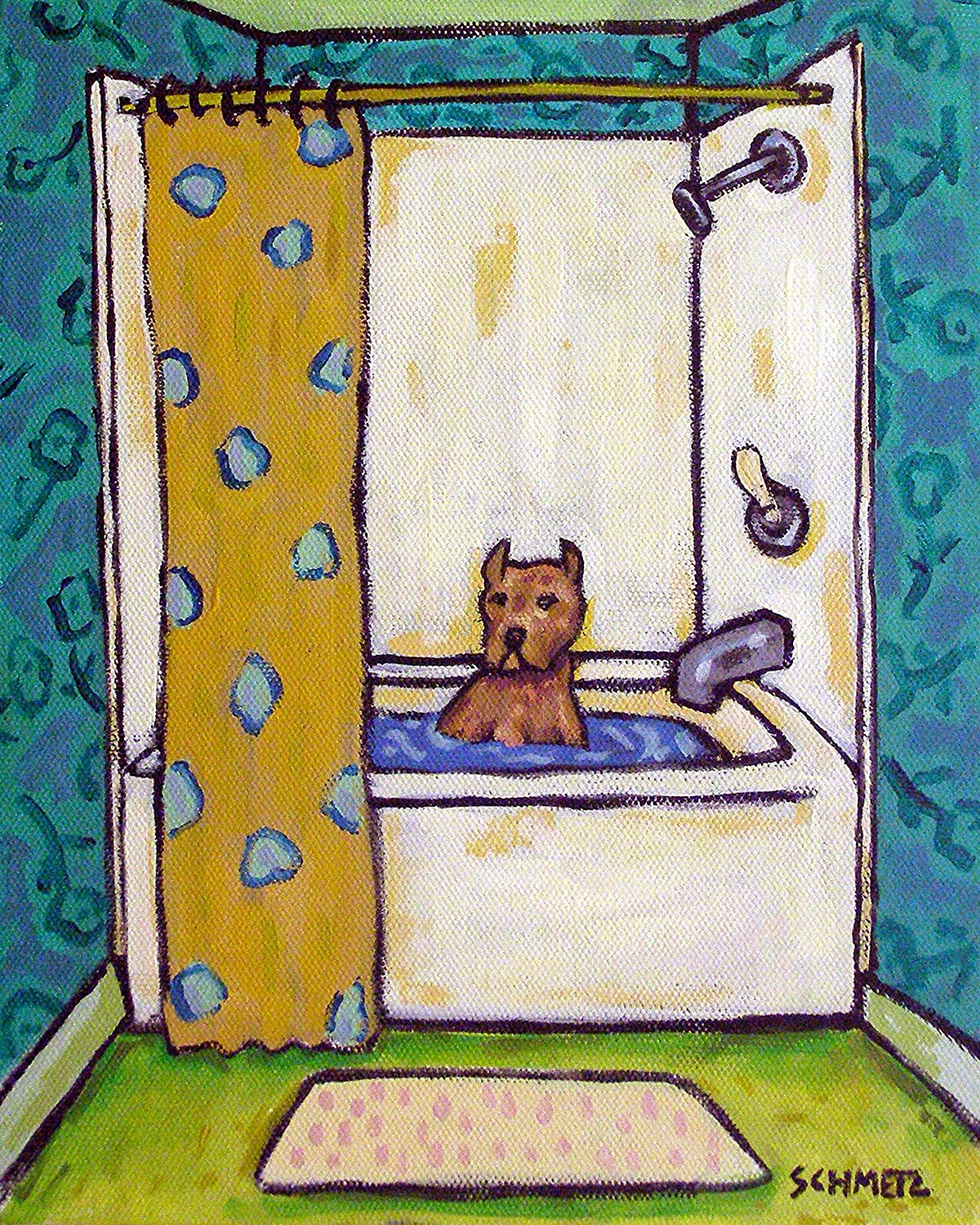 Portland Mall Pit Bull Terrier taking a Bath Complete Free Shipping Bather Bathroom Signed dog Decor