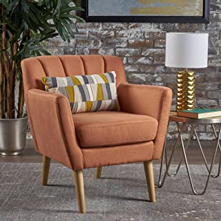Christopher Knight Home Madelyn Mid Century Modern Fabric Club Chair (Orange)