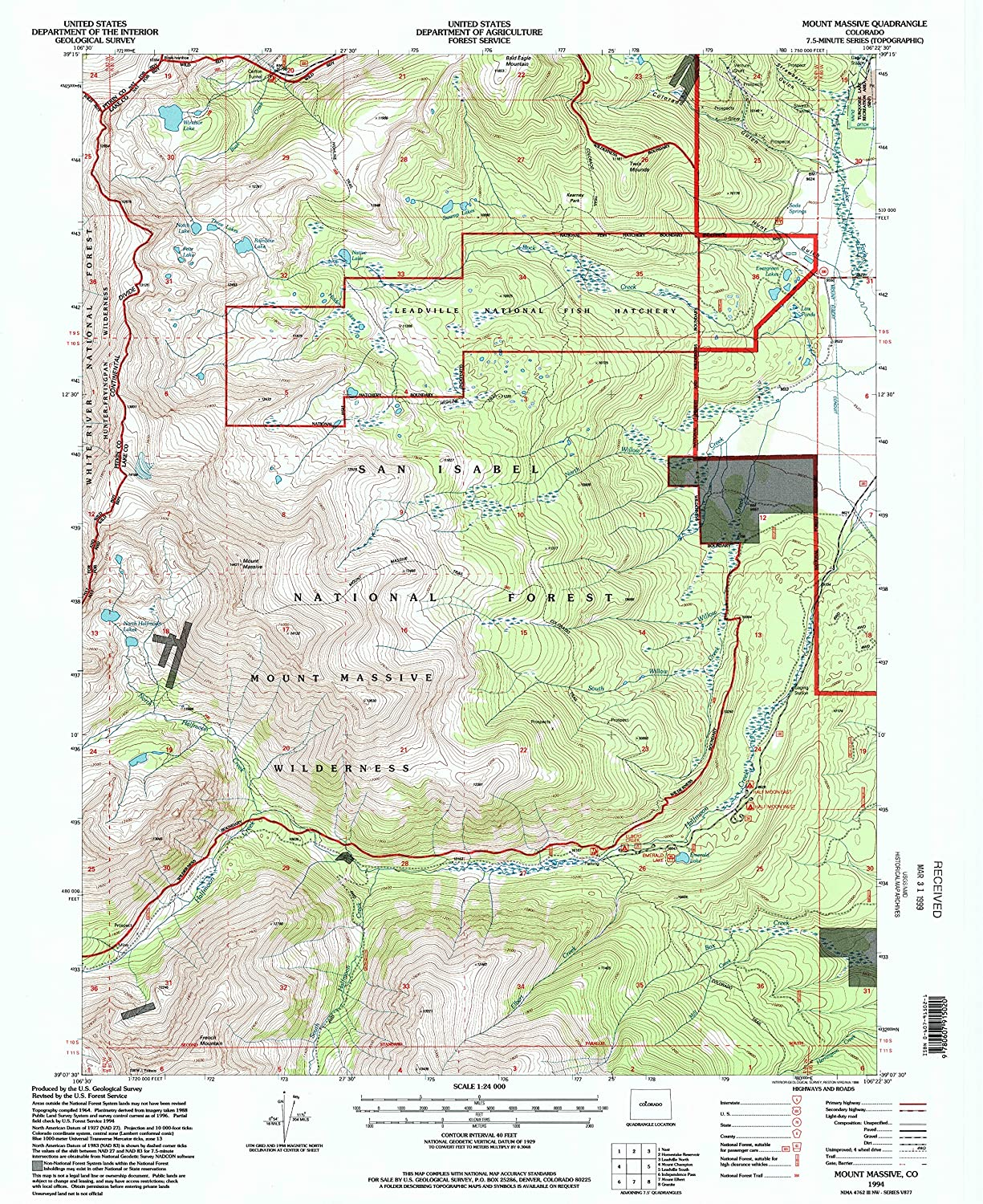Mount Massive CO topo map, 1 24000 Scale, 7.5 X 7.5 Minute, Historical, 1994, Updated 1998, 26.7 x 21.9 in
