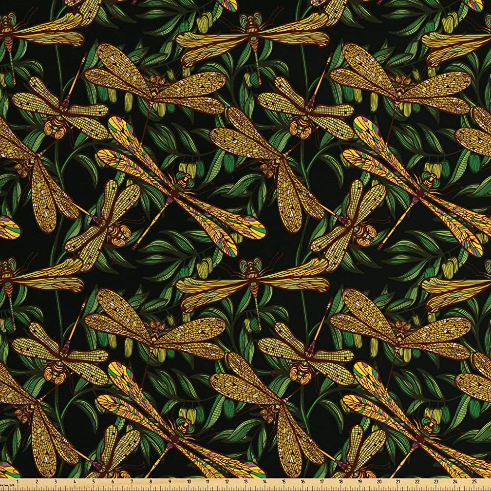 Ambesonne Dragonfly Fabric by The Yard, Artistic Pattern with Dragonflies and Green Olive Branches Mediterranean Nature, Decorative Fabric for Upholstery and Home Accents, 2 Yards, Multicolor
