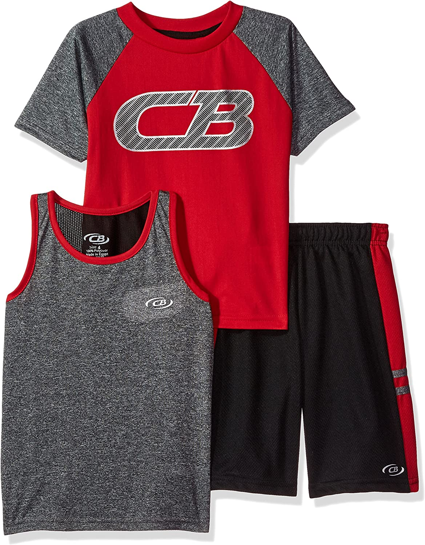 CB Sports Boys 3 Piece Performance Tank and Short Set Tee
