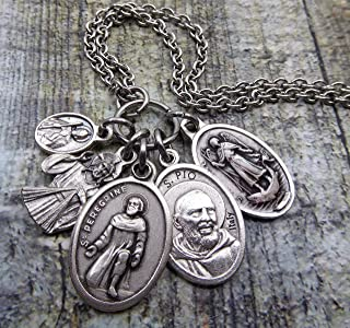 Cancer Healing Prayer Holy Medal Necklace, St. Peregrine, Patron Saint of Cancer Patients, Jesus Divine Mercy, St. Jude, Padre Pio, St. Raphael Get Well