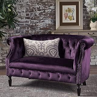 Christopher Knight Home Melaina BlackBerry Tufted Rolled Arm Velvet Chesterfield Loveseat Couch