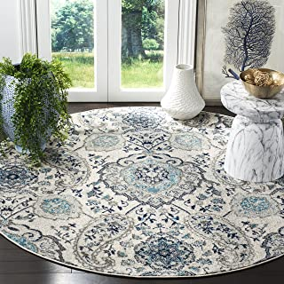 Safavieh Madison Collection MAD600C Cream and Light Grey Bohemian Chic Paisley Round Area Rug (9' Diameter)