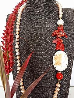 Collana di Perle d' acqua dolce e Cameo con base in Argento 925