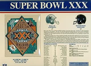 Super Bowl XXX 30 Official Patch Dallas Cowboys vs Pittsburgh Steelers st Sun Devil Stadium, Tempe AZ