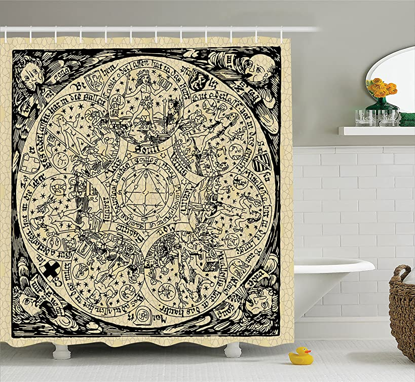 Ambesonne Astrology Decorations Shower Curtain Set, Series of Ancient Mystic Esoteric Old Map with Man Figures Vintage Symbols Decor, Bathroom Accessories, 69W X 70L inches, Ecru Black