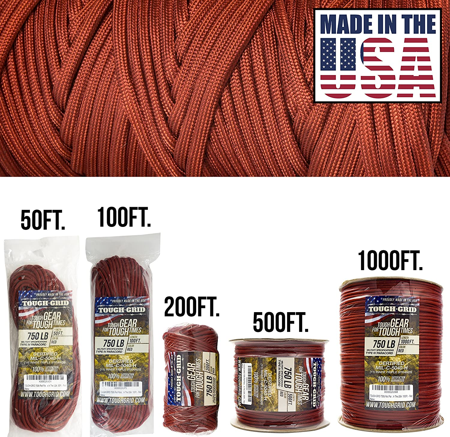 (150m (WOUND ON SPOOL), Red)  TOUGHGRID 340kg Paracord Parachute Cord  Genuine Mil Spec Type IV 340kg Paracord Used by the US Military (MIlC5040H)  100% Nylon  Made In The USA.