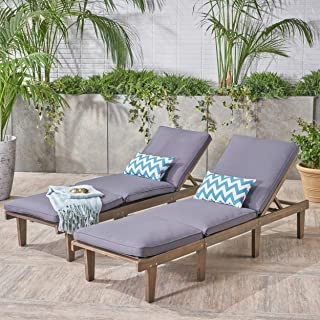 Christopher Knight Home 304426 Alisa Outdoor Acacia Wood Chaise Lounge with Cushions (Set of 2), Dark Grey, Finish
