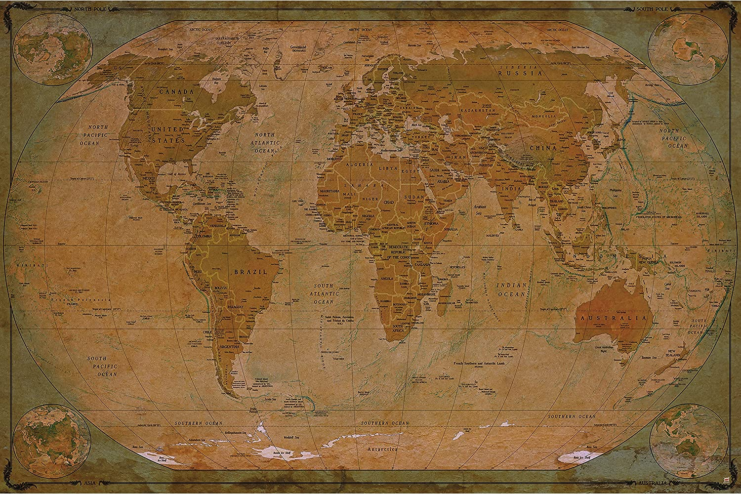 Amazon Com Large Photo Wallpaper Historical World Map Picture Decoration Globe Antique Vintage World Map Used Sepia Atlas Map Old School Image Decor Wall Mural 132 3x93 7in 336x238cm Tools