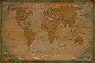 Large Photo Wallpaper – Historical World Map – Picture Decoration Globe Antique Vintage World Map Used Sepia Atlas Map Old...