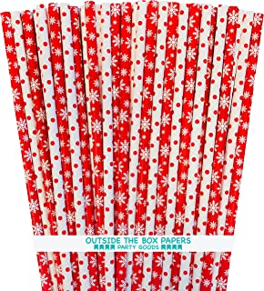 Snowflake and Polka Dot Paper Straws - Red Straws - 7.75 Inches - 100 Pack - Outside the Box Papers Brand