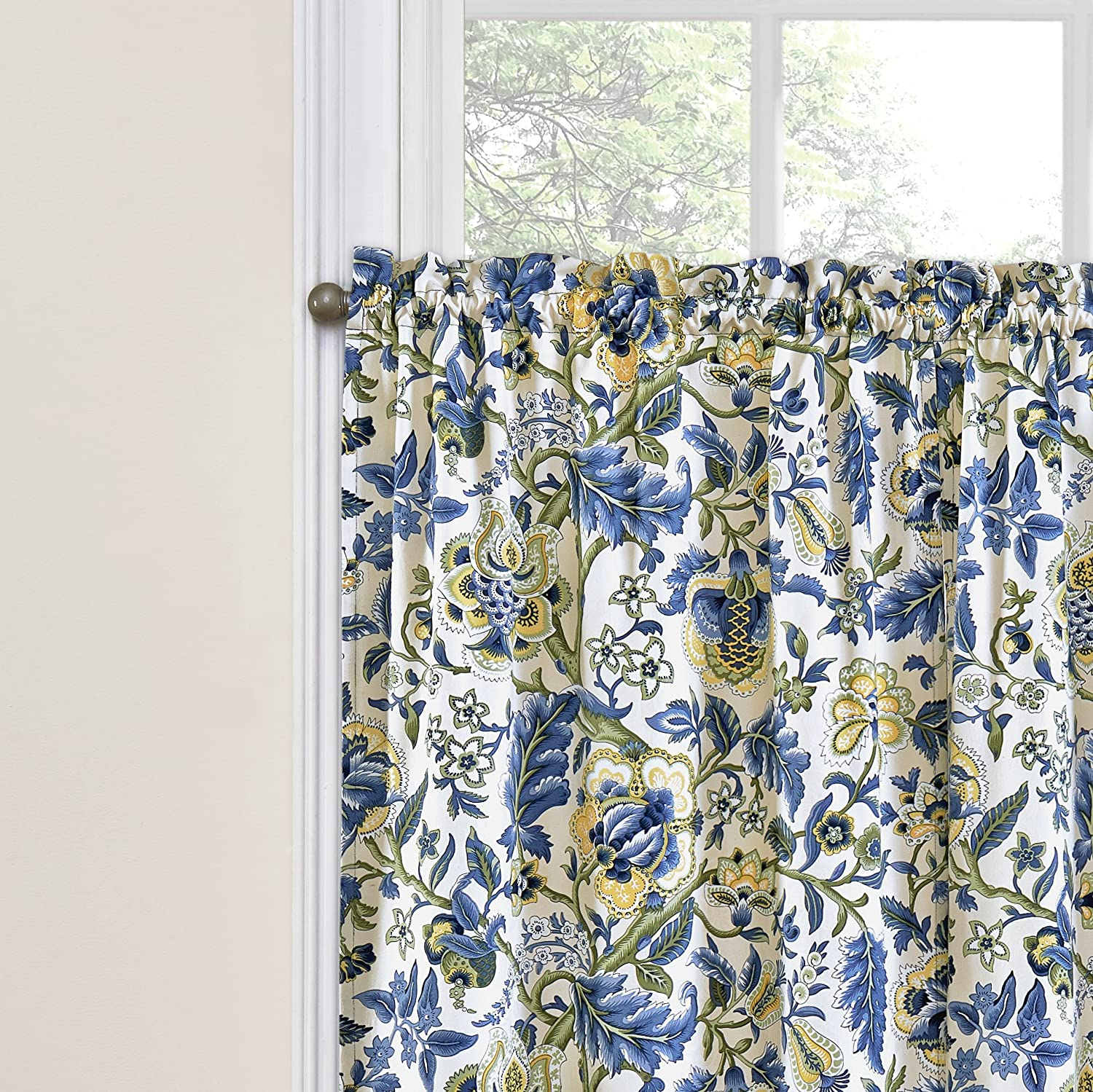 Amazon Com Waverly Kitchen Curtains For Windows Imperial Dress 52 X 24 Small Window Panel Tiers Privacy Window Treatment Pair Bathroom Living Room Porcelain Home Kitchen
