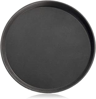 New Star Foodservice 24913 Non-Slip Tray, Plastic, Rubber Lined, Round, 11-inch, Black