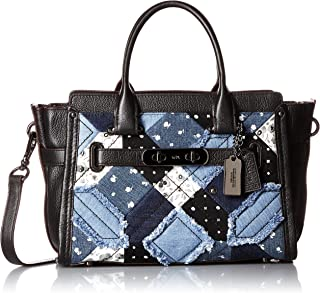 COACH Women's Canyon Quilt Denim Coach Swagger 27 DK/Denim Skull Print Satchel