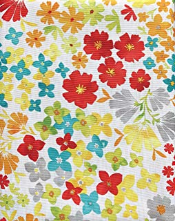 Fiesta Bright Floral Tablecloth Blue Red Yellow Orange Spring Green Flowers on White - Isadora Floral/Multi - 60 Inches by 84 Inches
