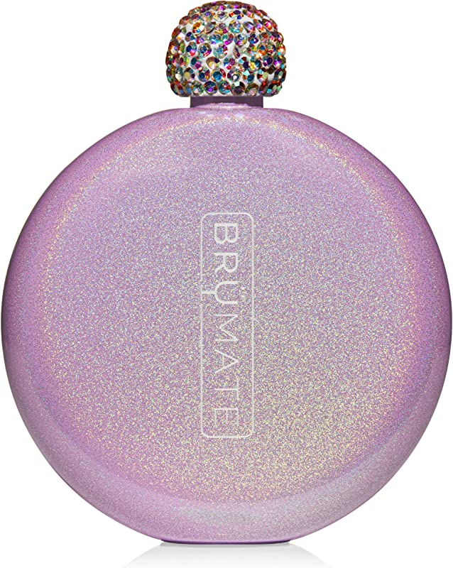 Br Mate Holographic Glitter Spirit Flask 5oz Stainless Steel Pocket Purse Liquor Flask With Rhinestone Cap Cute Girly Discreet For Drinking Perfect Gift For Women Glitter Violet